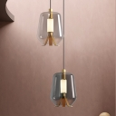 Post-Modern Jar Shaped Pendant Lighting Smoke/Cognac Glass Dining Table LED Suspension Light