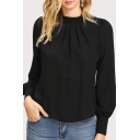 Popular Ladies Solid Color Long Sleeve Crew Neck Ruched Relaxed Blouse Top