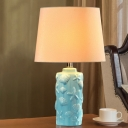 Ceramics Bottle Table Lighting Traditional Single Light Study Room Fabric Night Lamp in Blue