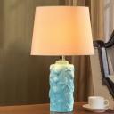 Ceramics Bottle Table Lighting Traditional Single Light Study Room Fabric Night Lamp in Blue