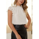 Elegant Womens White Butterfly Sleeve Lace Crew Neck Loose Blouse Top