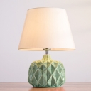 Ceramics Concave Convex Desk Light Traditional 1 Head Living Room Fabric Night Table Lamp in White/Green