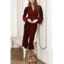Special Occasion Womens Velvet Blouson Sleeve V-neck Twist Front Slit Front Mid Sheath Dress in Burgundy