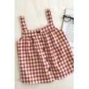 Sexy Womens Plaid Button Down Pleated Square Neck Sleeveless Regular Fit Tank Top