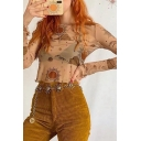 Sexy Womens Allover Sun Moon Print See-through Mesh Stringy Selvedge Long Sleeve Crew Neck Slim Fit Crop T Shirt