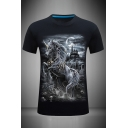 Novelty 3D Castle Horse Printed Slim Fitted Short Sleeve Crew Neck Tee Top for Men