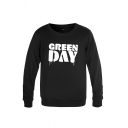 Casual Mens Letter Green Day Printed Long Sleeve Crew Neck Relaxed Fit Pullover Sweatpants