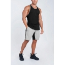 Leisure Men's Color Block Dots Print Elasticated Waist over the Knee Fitted Sweat Shorts