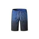 Mens Leisure Abstract Pattern Drawstring Waist Knee-length Straight Fit Shorts with Pockets