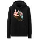 Cool Mens Character Pattern Pocket Drawstring Long Sleeve Regular Fit Hooded Sweatshirt