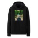 Cool Mens Car Road Pattern Pocket Drawstring Long Sleeve Regular Fit Hooded Sweatshirt