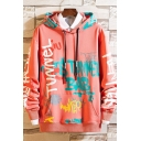 Dressy Mens Letter Tunnel Bab Printed Pocket Drawstring Long Sleeve Relaxed Fitted Hooded Sweatshirt