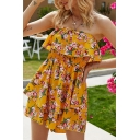Gorgeous Womens Allover Flower Print Strapless Ruffled Trim Short Pleated A-line Tube Dress in Yellow