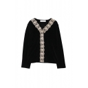 Glamorous Womens Bead Button Down Lace Trim V Neck Long Sleeve Regular Fit Tunic Shirt in Black