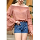 Pretty Womens Semi-sheer Mesh Ditsy Floral Embroidered Ruffled Bell Sleeve Off the Shoulder Relaxed T Shirt in Khaki