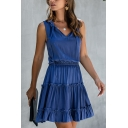 Fashionable Womens Solid Color Ruffled Trim Sleeveless Bow Tied V-neck Short A-line Pleated Dress