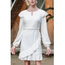 Elegant Ladies White Hollow out Polka Dot Print Ruffled Trim Long Sleeve Round Neck Keyhole Short A-line Dress