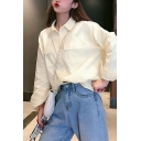 Fashionable Womens Apricot Long Sleeve Turn-down Collar Button down Flap Pocket Relaxed Fit Shirt Top