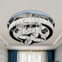 Contemporary Flower and Ring Flush Lamp Faceted Crystal Block LED Bedroom Semi Flush Mount in Stainless-Steel
