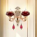 Burgundy Glass Oval Wall Mount Lamp Mid Century 2 Lights Living Room Wall Lighting Idea