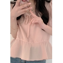 Popular Solid Color Puff Sleeve Stringy Selvedge Bow Tied Round Neck Ruffled Relaxed Blouse for Ladies