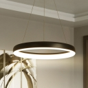 Black/White Hoop Pendant Chandelier Simplicity Acrylic LED Suspension Lamp in Warm/White Light, 16
