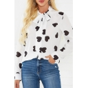 Womens Trendy Allover Heart Print Long Sleeve Bow Tied Neck Curved Hem Relaxed Blouse Top in White