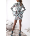 Pretty Womens Allover Floral Print Bell Long Sleeve Bow Tied Mock Neck Backless Short Sheath Dress in Light Blue