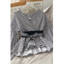 New Stylish Womens Striped Patchwork Bow Button Down Back V Neck Long Sleeve Slim Fit Blouse