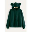Trendy Girls Solid Color Long Sleeve Drawtring Loose Fit Bear Ears Hoodie