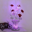 Art Deco Potted Flower Shape Table Light Aluminum Wire LED Nightstand Lamp in Chrome and Red