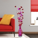 Red Finish LED Floor Standing Lamp Art Deco Aluminum Wire Lotus and Vase Stand Up Light