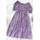 Gorgeous Multicolor Butterfly Printed Pleated Tiered Ruffle Trim Square Neck Short Puff Sleeve Midi A Line Dress for Girls