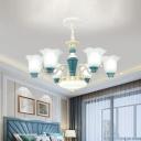 Flower Shade Bedroom Pendant Chandelier Farmhouse Milky Glass 3/6-Head Green Ceramics Pendulum Light