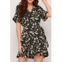 Glamorous Womens Ditsy Floral Print Bell Short Sleeve V-neck Bow Tie Waist Ruffled A-line Dress in Black