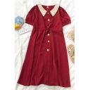 Fancy Ladies Color Block Button Down Ruched Drawstring Contrast Peter Pan Collar Short Puff Sleeve Midi A Line Dress