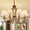Traditional Barrel Shade Pendant Chandelier 6/8 Heads Fabric Hanging Lamp with Curved Arm in Brass