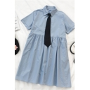Simple Girls Solid Color Pleated Button Polo Collar Short Sleeve Midi Flowy Maxi Dress with Black Belt
