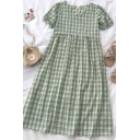 Vintage Girls Plaid Pleated V Neck Short Puff Sleeve Midi Plus Size Dress