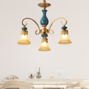 Frosted Glass Bell Shade Drop Pendant Countryside 3/5/6-Light Bedroom Ceramics Ceiling Chandelier