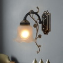 1 Light Flower Shade Wall Lighting Idea Traditional Black and Gold White Glass Branch Wall Lamp