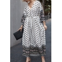 Stylish Womens Bohemian Style Gathered Waist V Neck 3/4 Flare Cuff Sleeve Maxi A-Line Dress