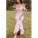 Pretty Ladies Ditsy Flower Printed Cold Shoulder Maxi Pleated Fishtail Dress in Pink