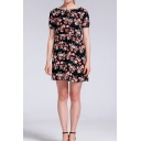 Glamorous Womens All over Floral Print Short Sleeve Tied Boat Neck Short A-line Dress