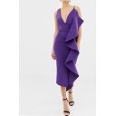Boutique Ladies Purple V-neck Asymmetric Ruffle Trimmed Mid Sheath Dress