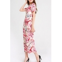 Fashion All over Flower Printed Short Sleeve Crew Neck Maxi A-line Dress for Ladies