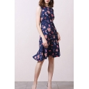 Stylish Womens All over Floral Printed Sleeveless Crew Neck Mid A-line Dress