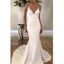 Adorable Womens White Spaghetti Straps V-neck Maxi Fishtail Slip Dress