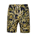 Men's Fashion Ethnic Floral Printed Drawstring Waist Casual Navy Beach Swim Shorts