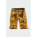 Cool Men's Shorts Plain Zip Fly Button Drawstring Detail Pleated Straight Fit Knee-length Cargo Shorts with Flap Pockets